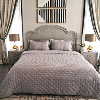 طقم غطاء سرير 3 قطع كينج لون رمادي من كوتاج