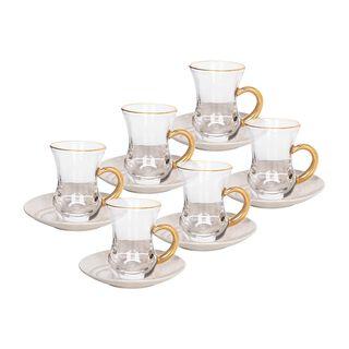طقم أكواب شاي 12 قطعه تصميم رخام لون ذهبي من لاميسا