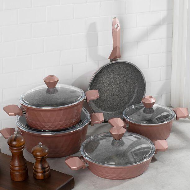 طقم ادوات طهي بغطاء زجاجي 9 قطع لون وردي من البرتو image number 3