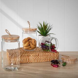 حافظة تخزين زجاج بغطاء خشبي سعة 1700 مل من البرتو