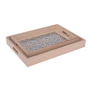 طقم صواني تقديم خشبية