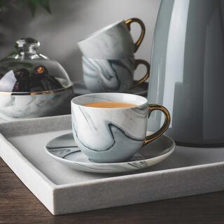 طقم أكواب شاي مع صحون 12 قطعة رخام رمادي مع ذهبي من لاميسا