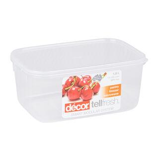 حافظة طعام بلاستيك مستطيل بغطاء محكم الإغلاق سعة 1.8لتر بغطاء ابيض من ديكور