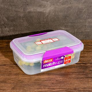 حافظة طعام بلاستيك مستطيل بغطاء محكم الإغلاق سعة 2لتر بغطاء بنفسجي من ديكور
