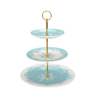 طبق تقديم للكيك 3 طبقات لون تركواز من لاميسا