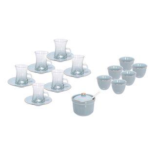 طقم شاي وقهوة عربي 20 قطعة لون تيفاني