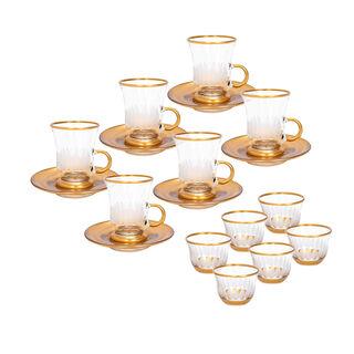 طقم شاي و قهوة 18 قطعة تصميم عباد الشمس لون ذهبي