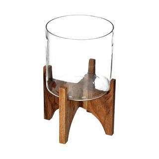 إناء نباتات من الخشب والزجاج