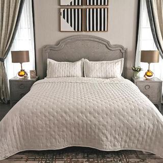 طقم غطاء سرير 3 قطع كينج لون ابيض من كوتاج