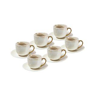 طقم أكواب قهوة رخام بمسكة ذهبية 12 قطعة من لاميسا