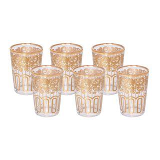 طقم كاسات مغربية زجاج ذهبي سعة:  6