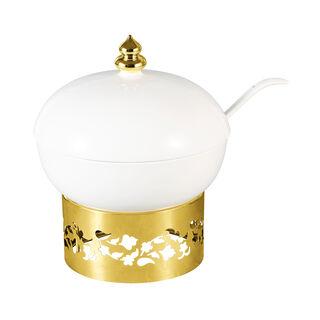 طبق تقديم مع حامل ذهبي ماجستيك من لاميسا