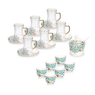 طقم شاي و قهوة عربي بورسلان 21 قطعة أخضر