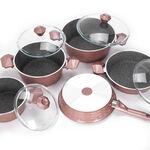 طقم ادوات طهي بغطاء زجاجي 9 قطع لون وردي من البرتو image number 2