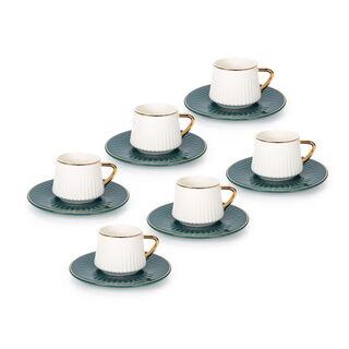 طقم فناجين قهوة تركية بورسلان 12 قطعة لون أخضر غامق