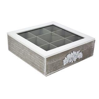 صندوق شاي خشب و زجاج 9 اقسام