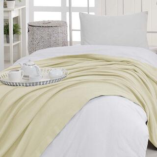 مفرش سرير صيفي من القطن الطبيعي لون كريمي