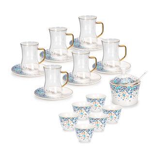 طقم شاي و قهوة عربي بورسلان 21 قطعة أزرق