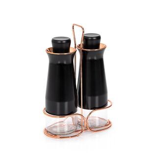 طقم قوارير  زجاج للزيت و الخل قطعتين لون ذهبي واسود من البرتو