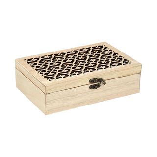 صندوق شاي مقسم 6 أقسام مع مفتاح