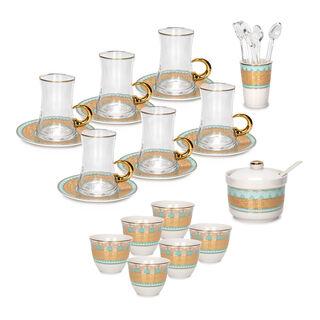 طقم شاي وقهوة عربي بورسلان 28 قطعة