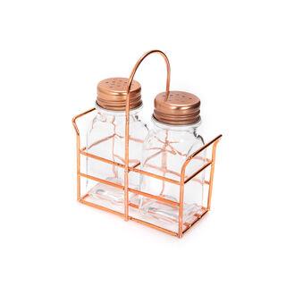 طقم ملاحات زجاجية قطعتين مع حامل معدني من البرتو